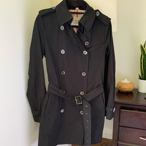 Burberry Brit black trench coat 8 US